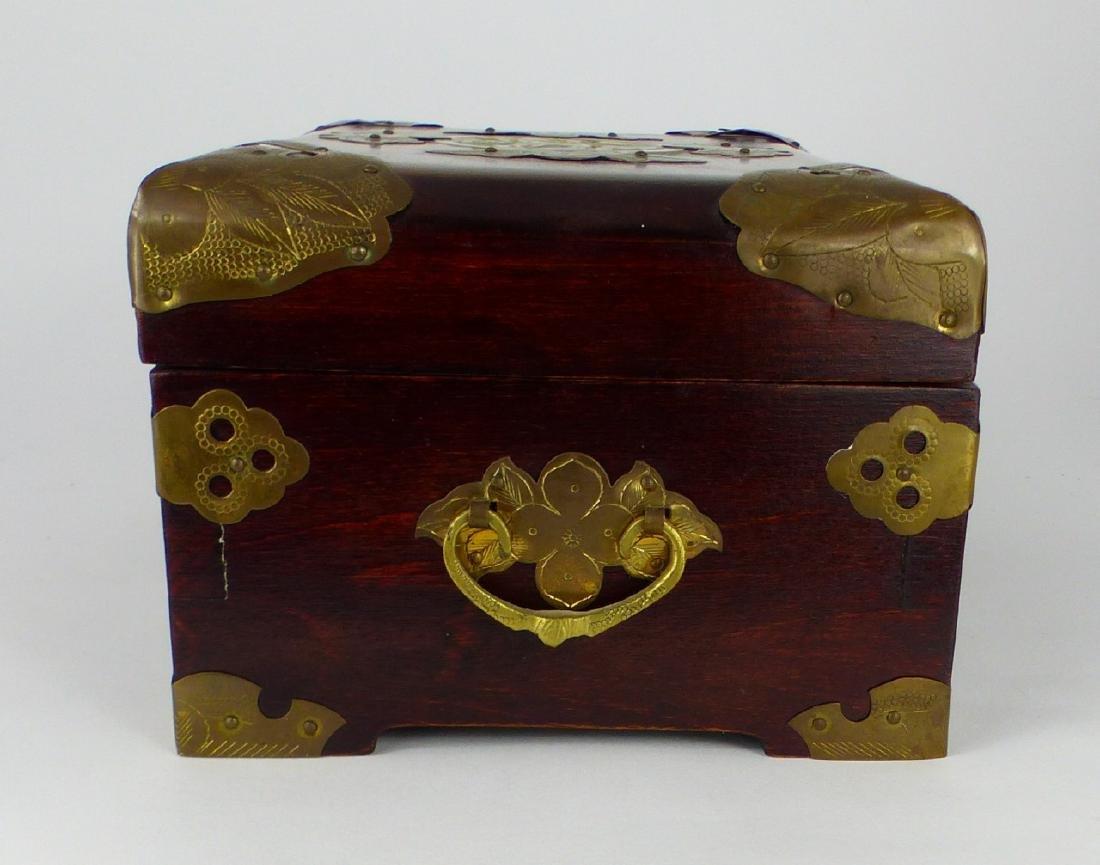 CHINESE WOOD JEWELRY BOX w JADE PLAQUE - 6