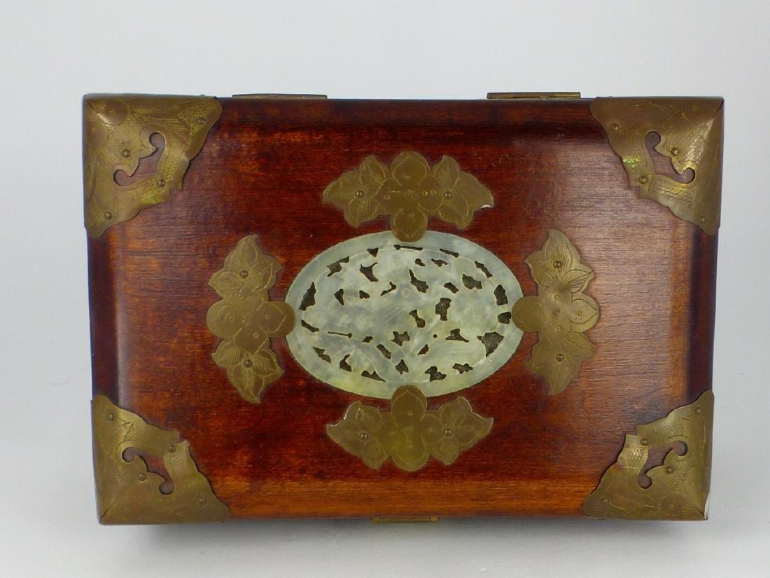 CHINESE WOOD JEWELRY BOX w JADE PLAQUE - 7