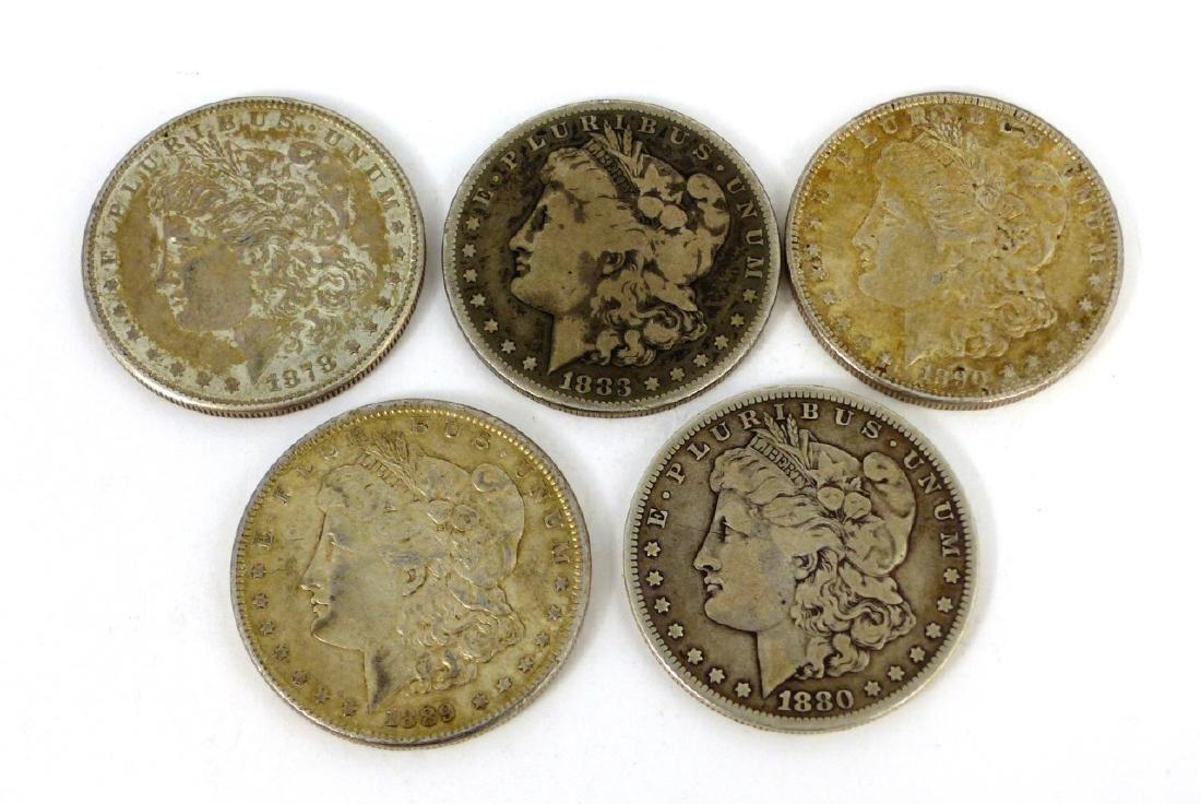 5pc AMERICAN SILVER MORGAN DOLLARS 1878-1890