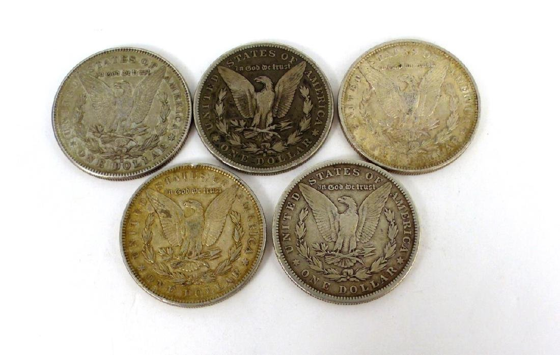 5pc AMERICAN SILVER MORGAN DOLLARS 1878-1890 - 2