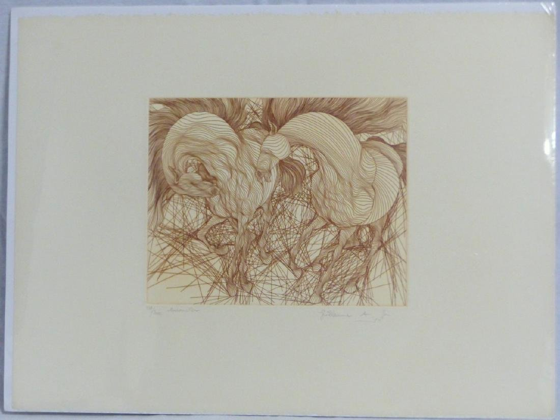 2pc GUILLAUME AZOULAY HORSE ETCHINGS