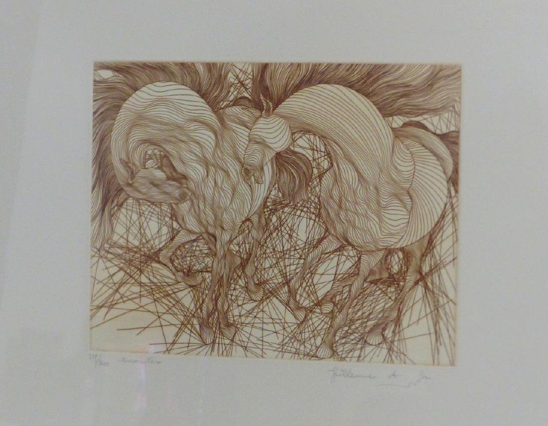 2pc GUILLAUME AZOULAY HORSE ETCHINGS - 2