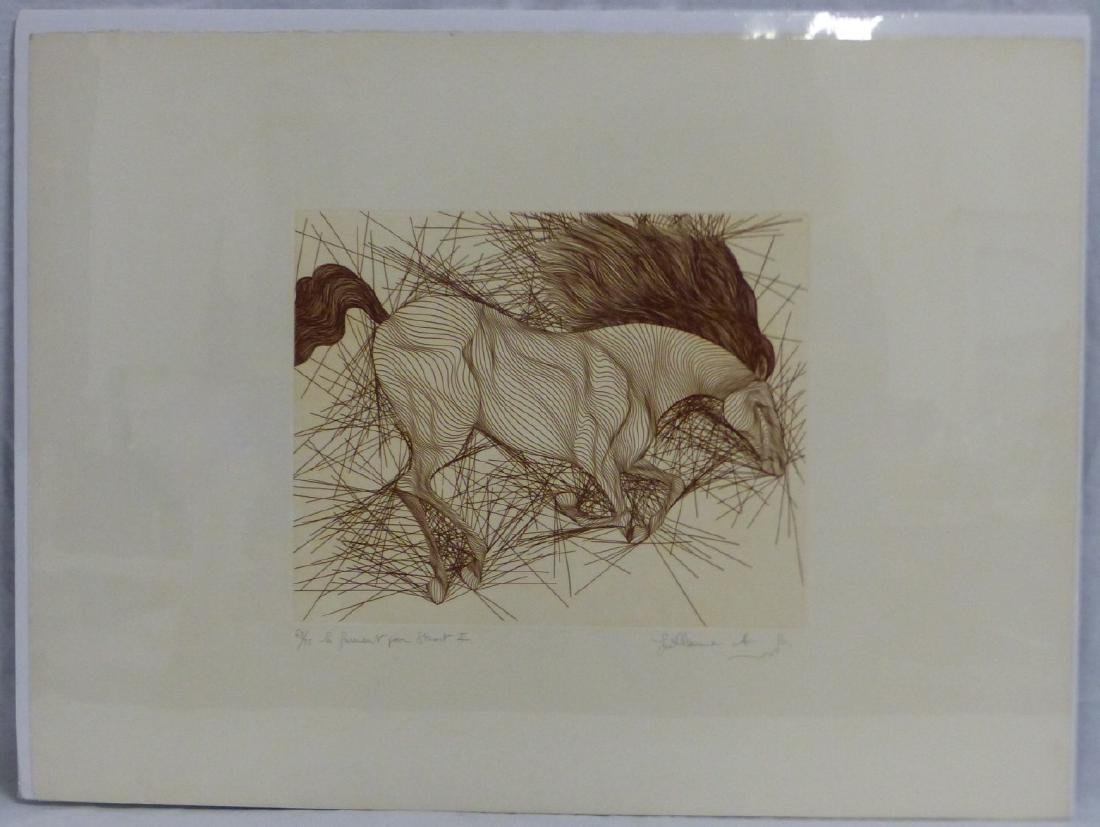 2pc GUILLAUME AZOULAY HORSE ETCHINGS - 5