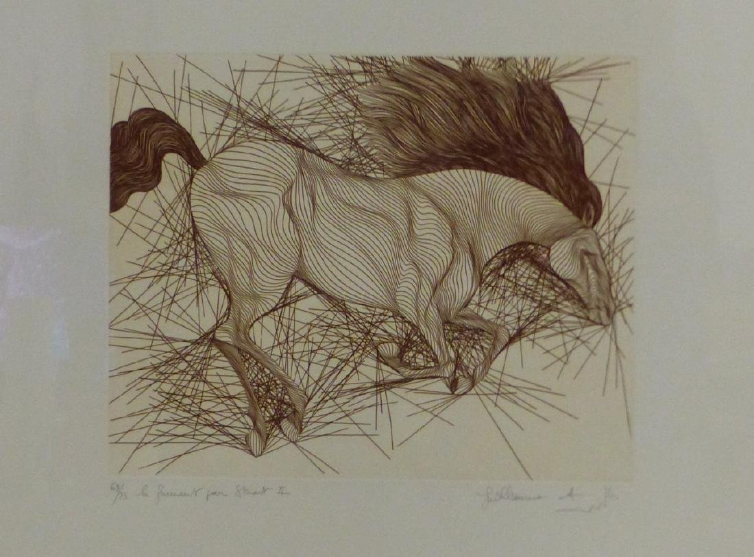 2pc GUILLAUME AZOULAY HORSE ETCHINGS - 6