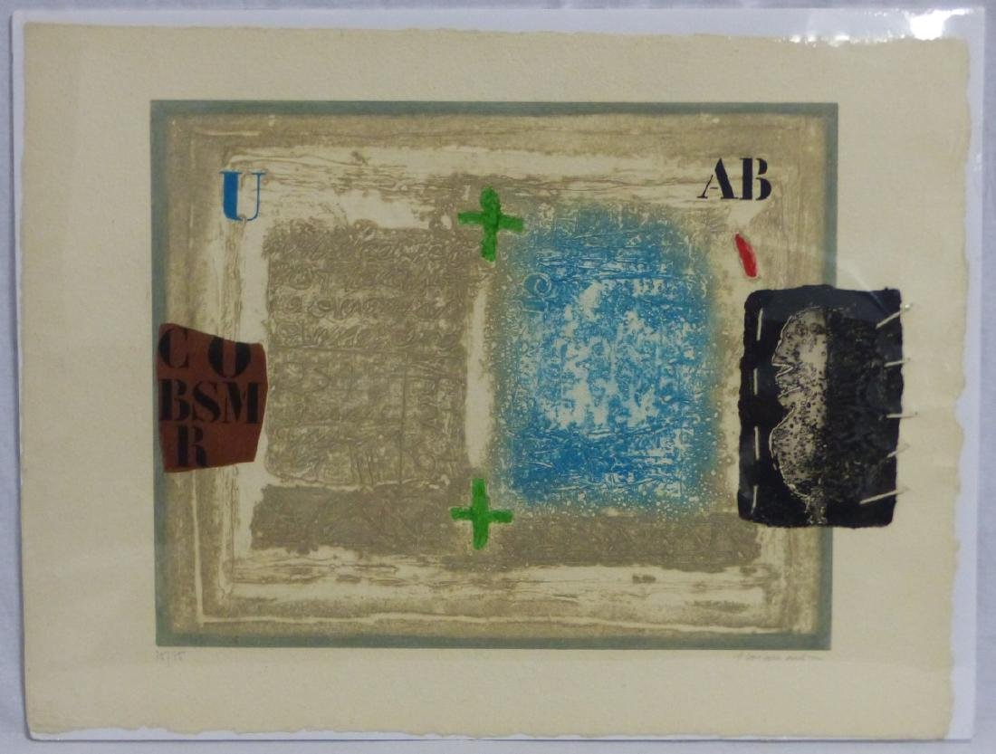 JAMES COIGNARD ETCHING WITH COLLAGE SIGNED