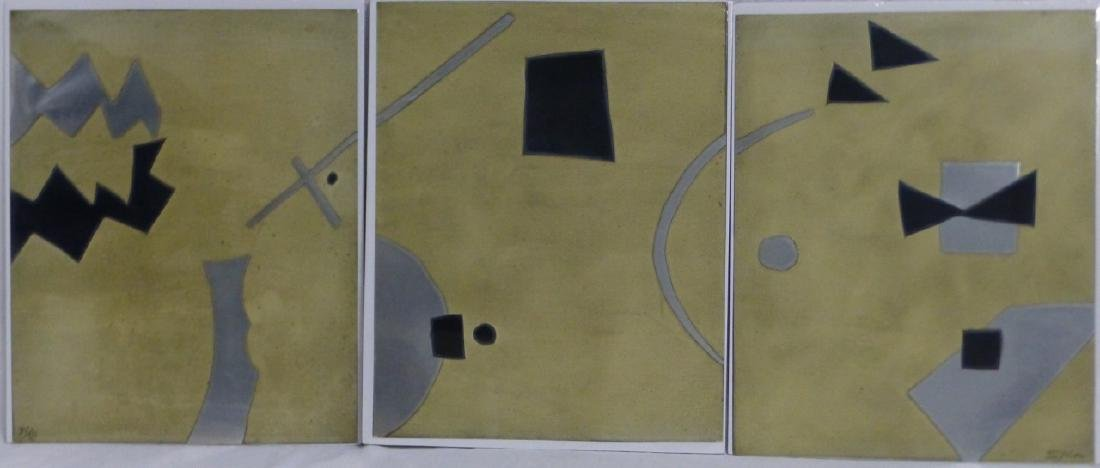 3pc SICA METALLIC LITHOGRAPHS TRIPTYCH SIGNED