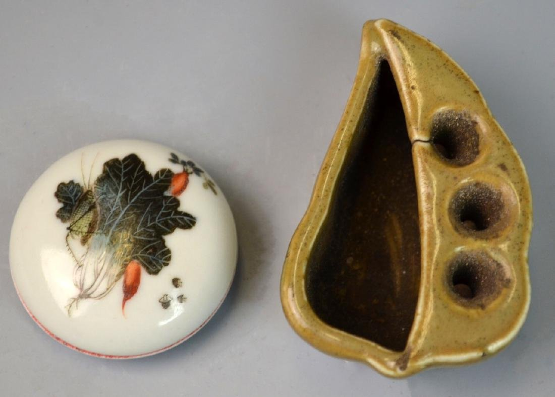 2pc CHINESE PORCELAIN INK BOX & BRUSH HOLDER