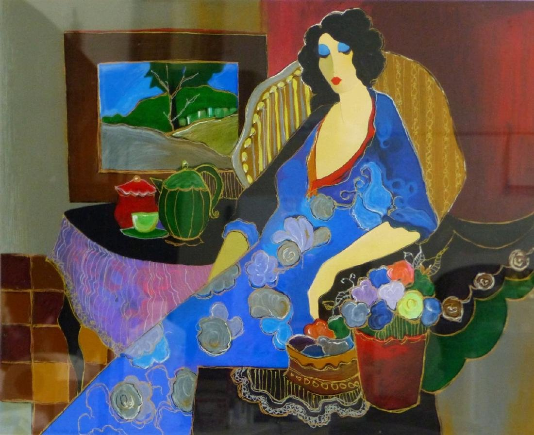 ITZACH TARKAY SERIGRAPH OF SEATED LADY - 2
