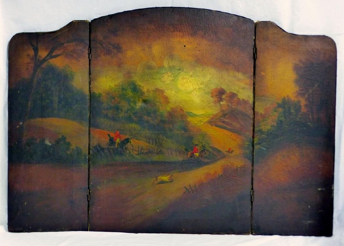 ANTIQUE HAND PAINTED 3-PANEL FIREPLACE SCREEN