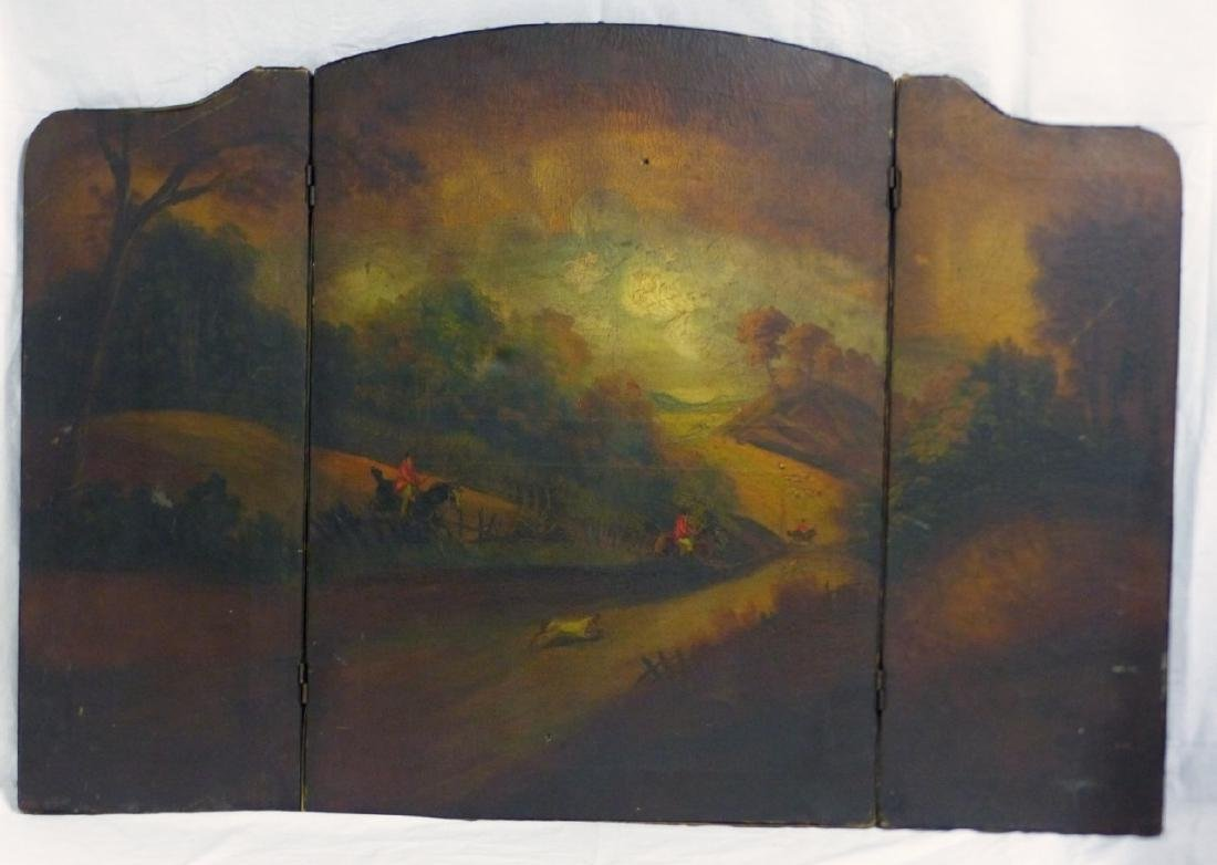 ANTIQUE HAND PAINTED 3-PANEL FIREPLACE SCREEN - 2