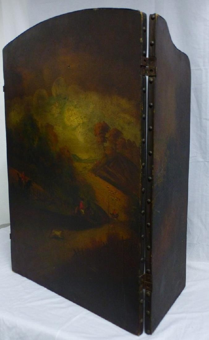 ANTIQUE HAND PAINTED 3-PANEL FIREPLACE SCREEN - 5