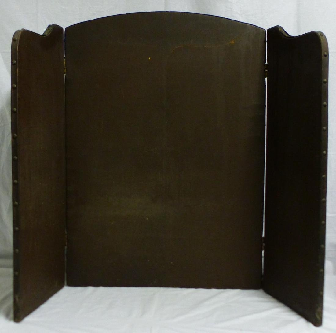 ANTIQUE HAND PAINTED 3-PANEL FIREPLACE SCREEN - 6