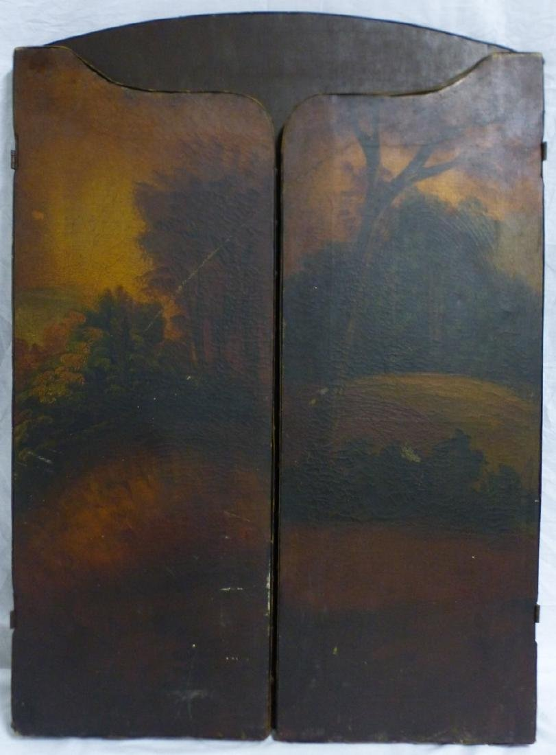 ANTIQUE HAND PAINTED 3-PANEL FIREPLACE SCREEN - 7