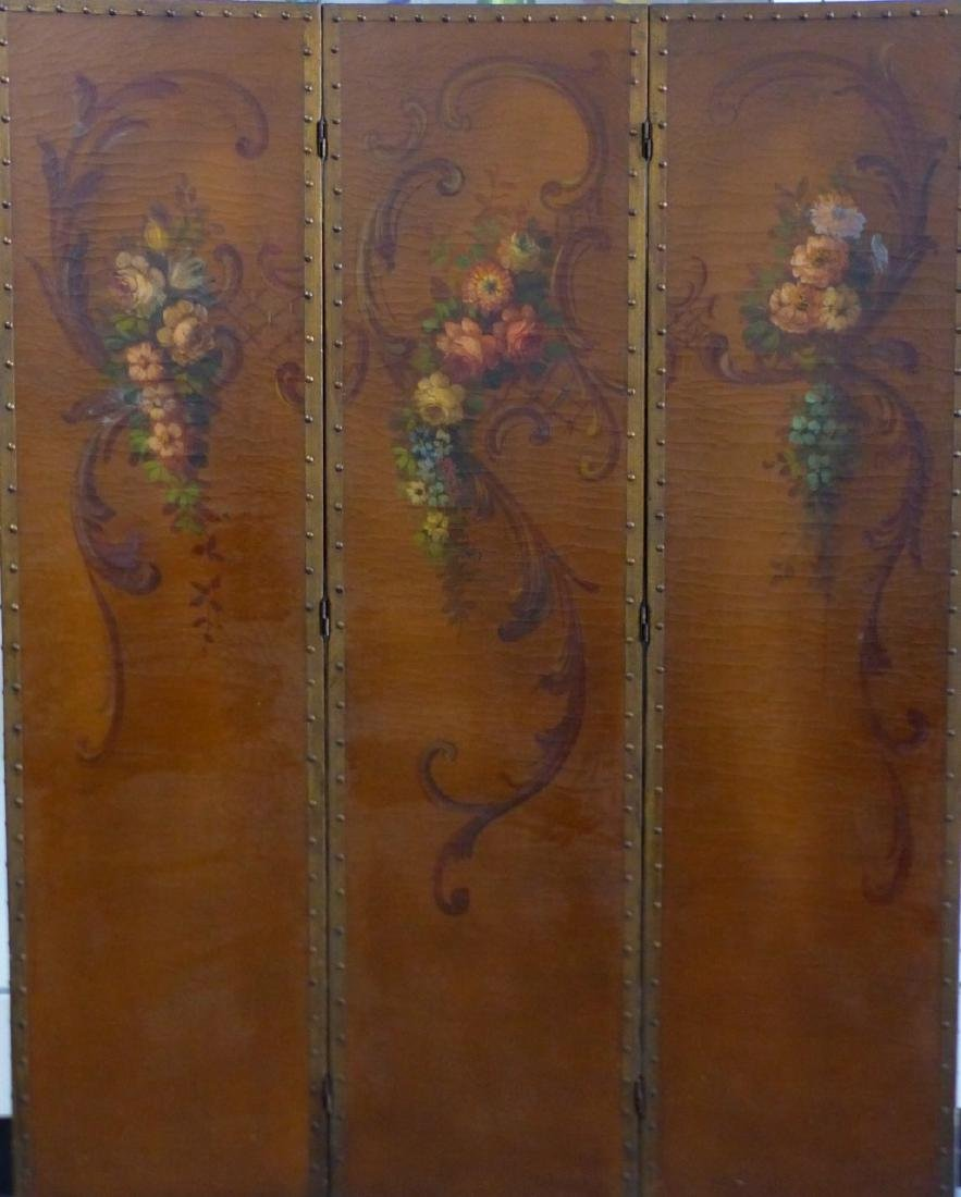 HAND PAINTED 3-PANEL FLORAL FLOOR SCREEN - 2