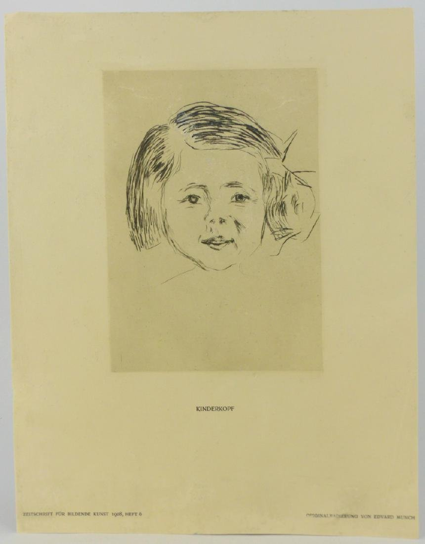 EDVARD MUNCH 'KINDERKOPF' ETCHING