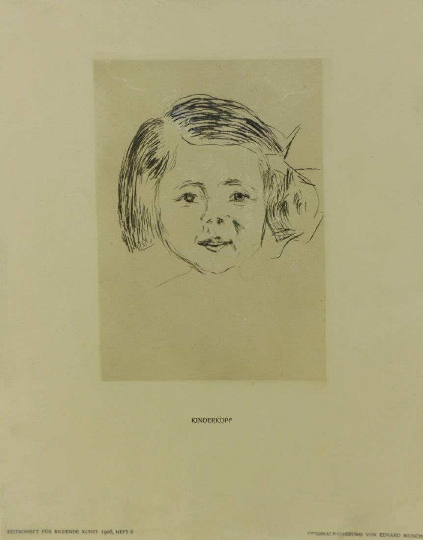 EDVARD MUNCH 'KINDERKOPF' ETCHING - 2