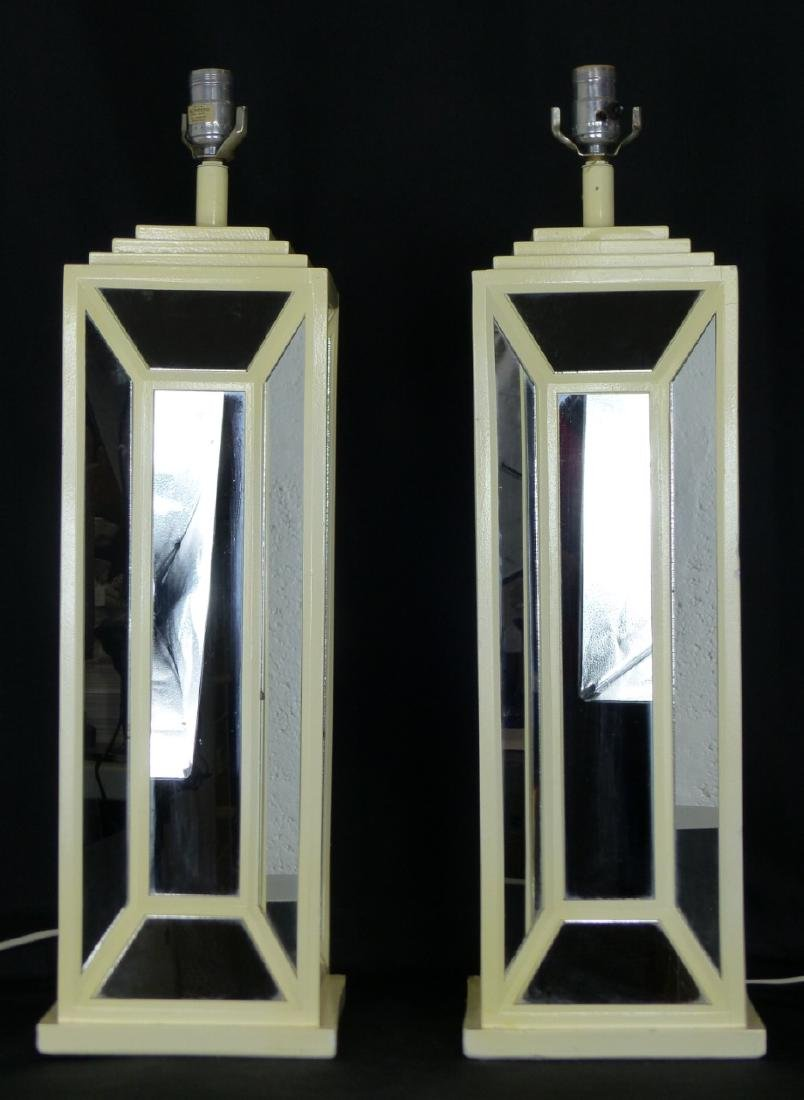 PR MID-CENTURY MIRRORED TABLE LAMPS