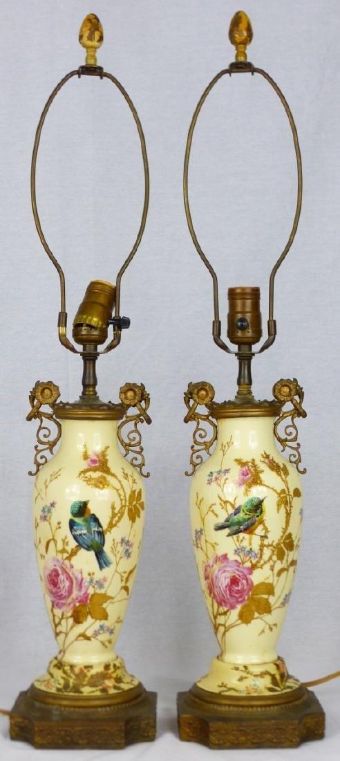 PR CONTINENTAL PORCELAIN BIRD VASE LAMPS