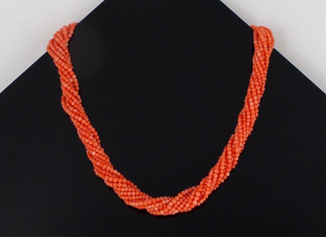 TIFFANY 10-STRAND CORAL STERLING SILVER NECKLACE