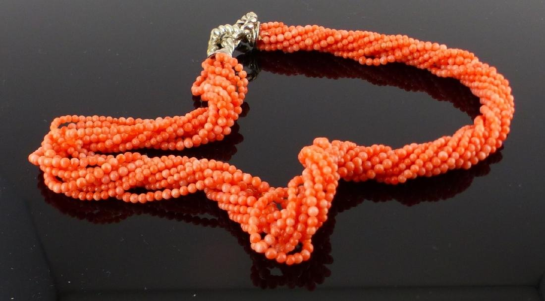 TIFFANY 10-STRAND CORAL STERLING SILVER NECKLACE - 3