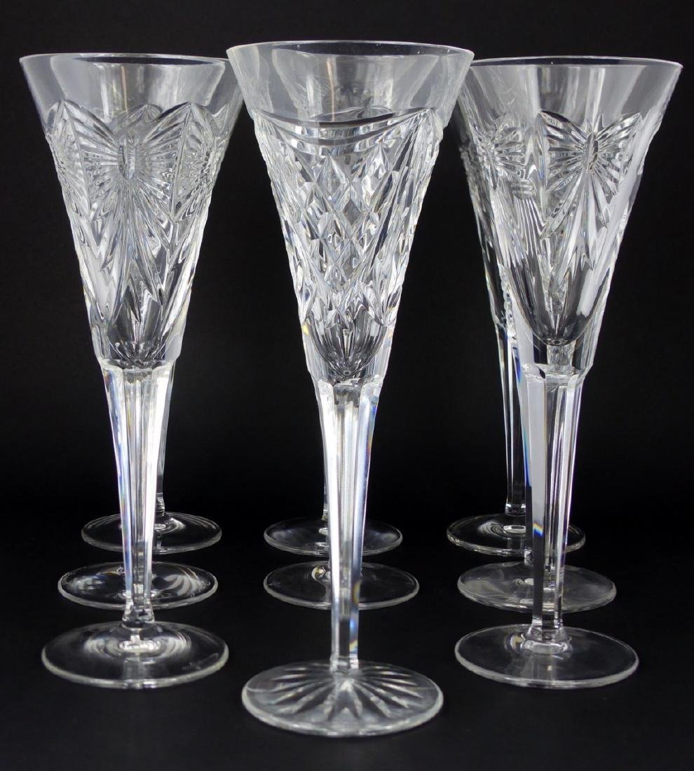9pc WATERFORD MILLENIUM SERIES FLUTED CHAMPAGNES