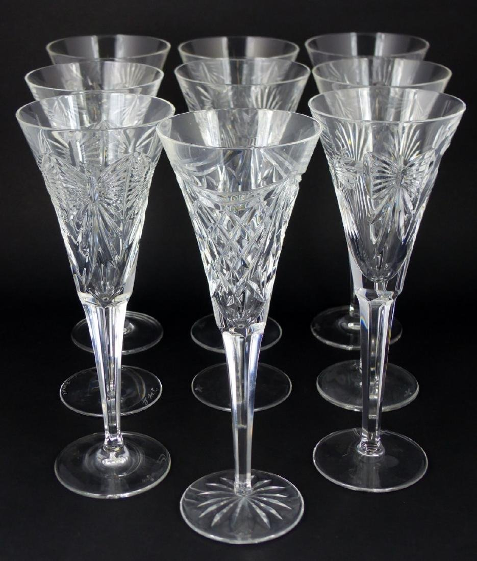 9pc WATERFORD MILLENIUM SERIES FLUTED CHAMPAGNES - 2