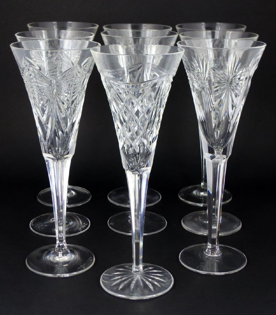 9pc WATERFORD MILLENIUM SERIES FLUTED CHAMPAGNES - 3