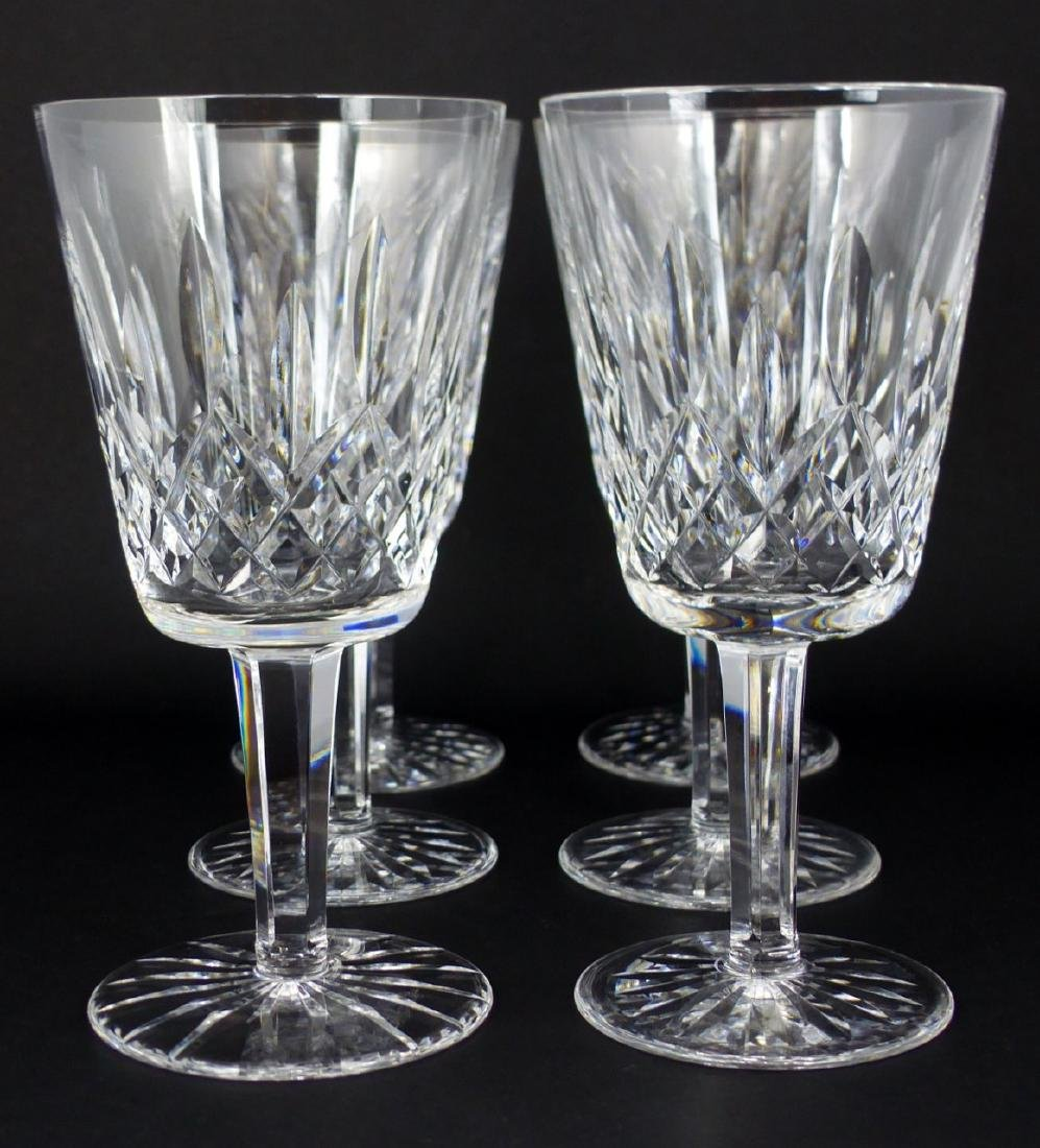 6pc WATERFORD LISMORE CRYSTAL WATER GOBLETS