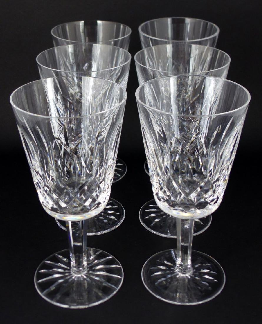 6pc WATERFORD LISMORE CRYSTAL WATER GOBLETS - 2