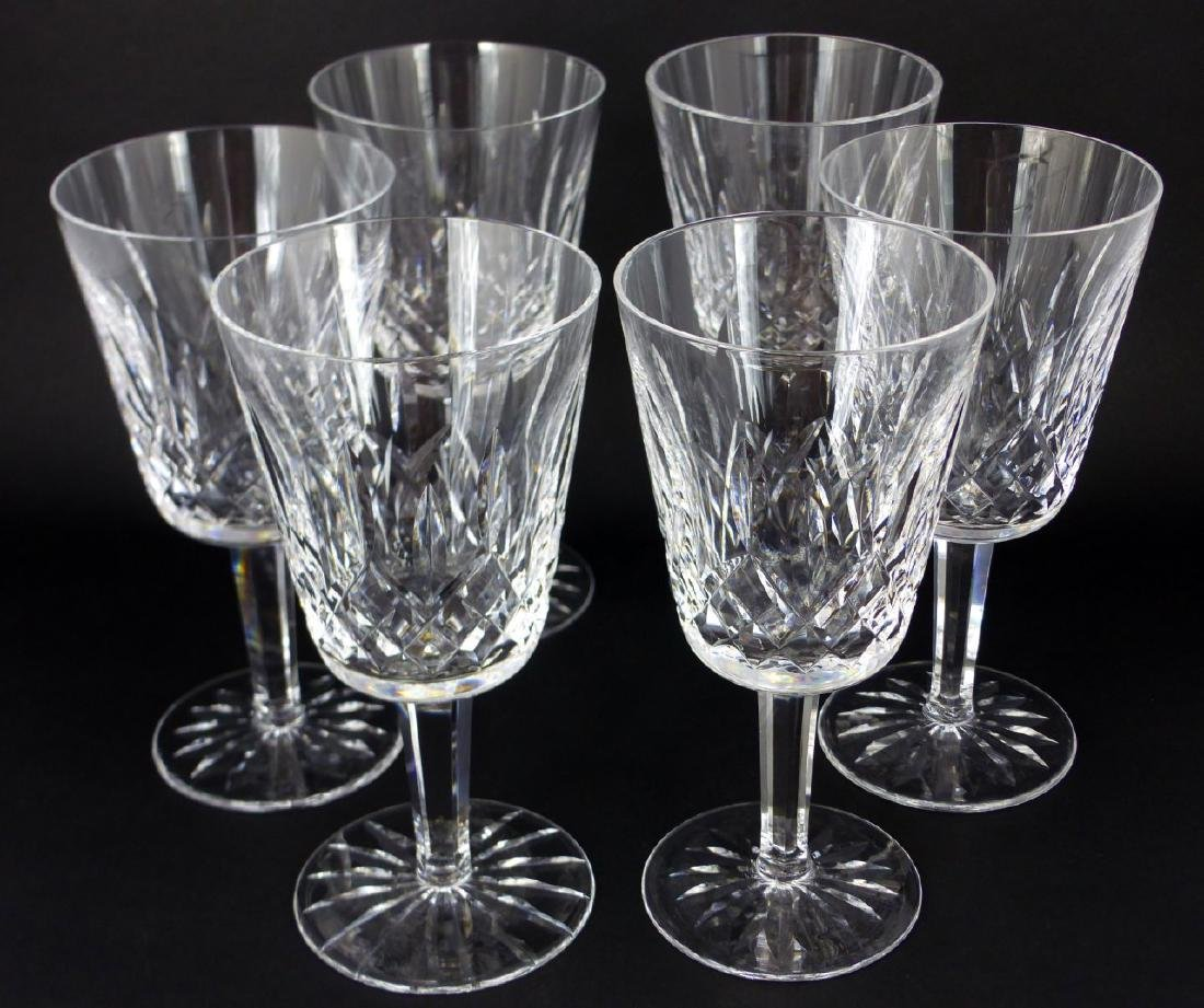 6pc WATERFORD LISMORE CRYSTAL WATER GOBLETS - 3