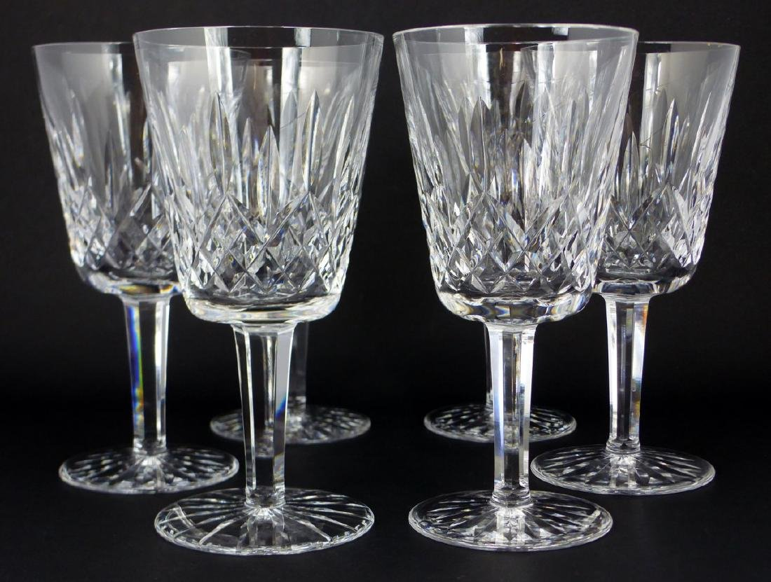 6pc WATERFORD LISMORE CRYSTAL WATER GOBLETS - 4