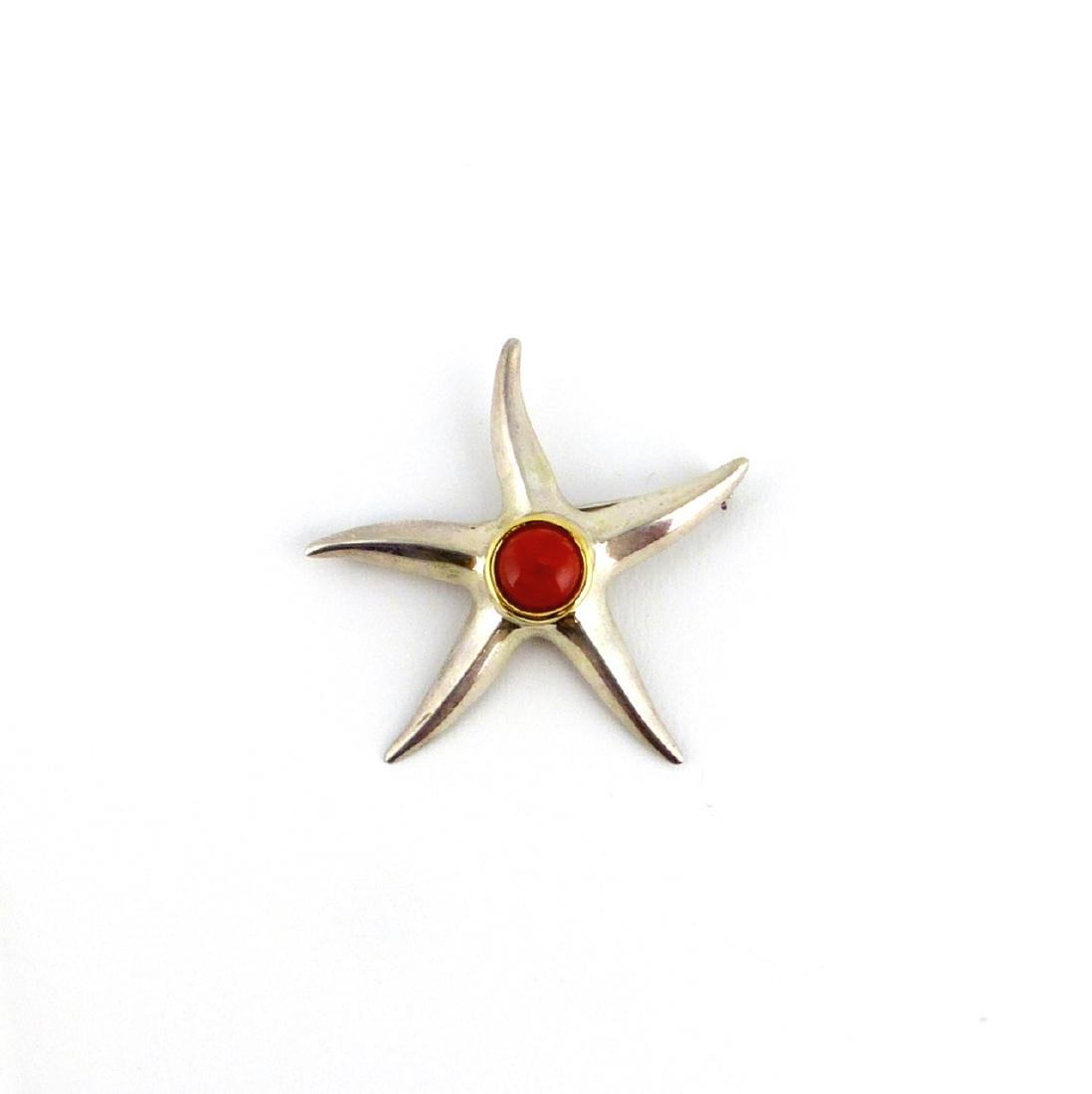 TIFFANY STERLING & 18kt YG CORAL STARFISH BROOCH