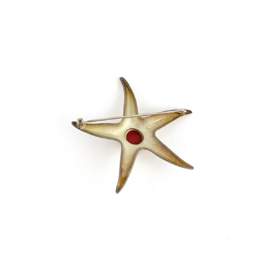 TIFFANY STERLING & 18kt YG CORAL STARFISH BROOCH - 2