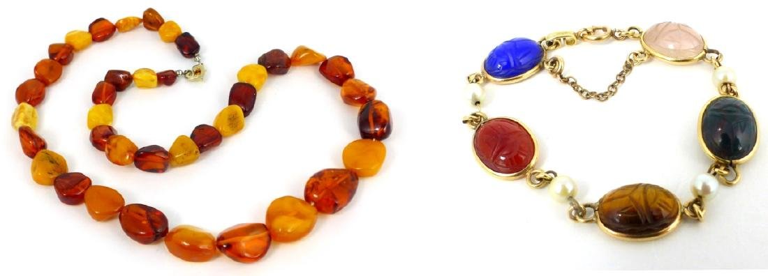 2pc SCARAB BRACELET & FAUX AMBER BEADED NECKLACE