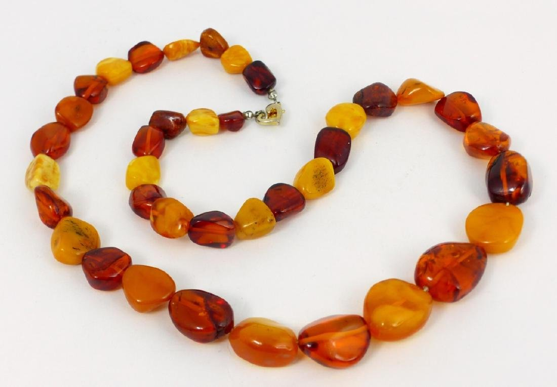 2pc SCARAB BRACELET & FAUX AMBER BEADED NECKLACE - 2