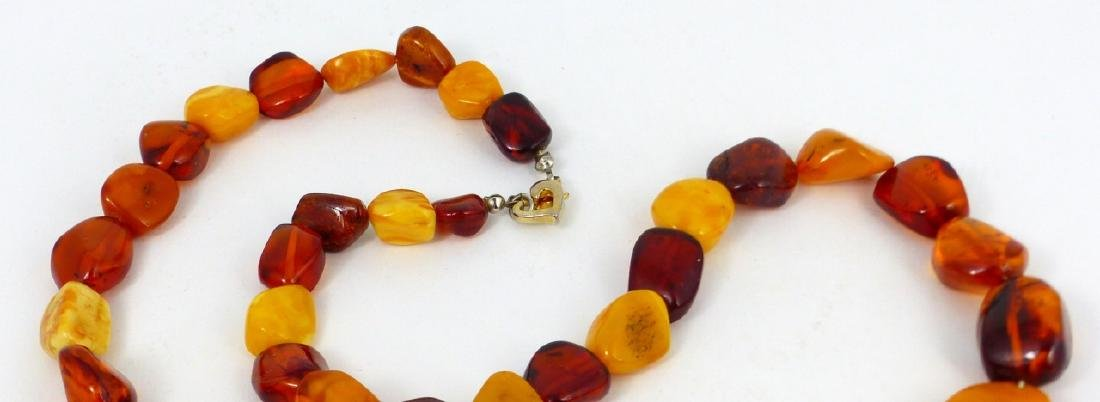 2pc SCARAB BRACELET & FAUX AMBER BEADED NECKLACE - 3