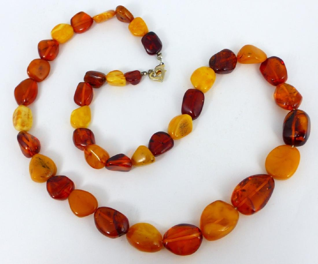 2pc SCARAB BRACELET & FAUX AMBER BEADED NECKLACE - 5