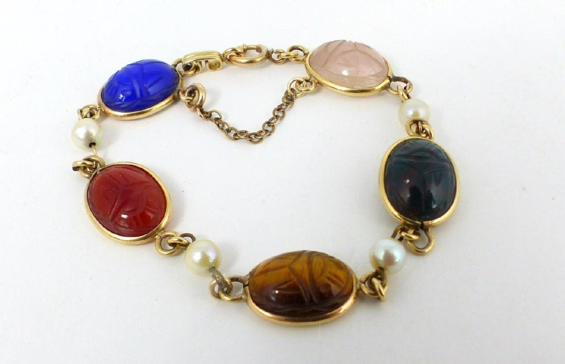 2pc SCARAB BRACELET & FAUX AMBER BEADED NECKLACE - 6