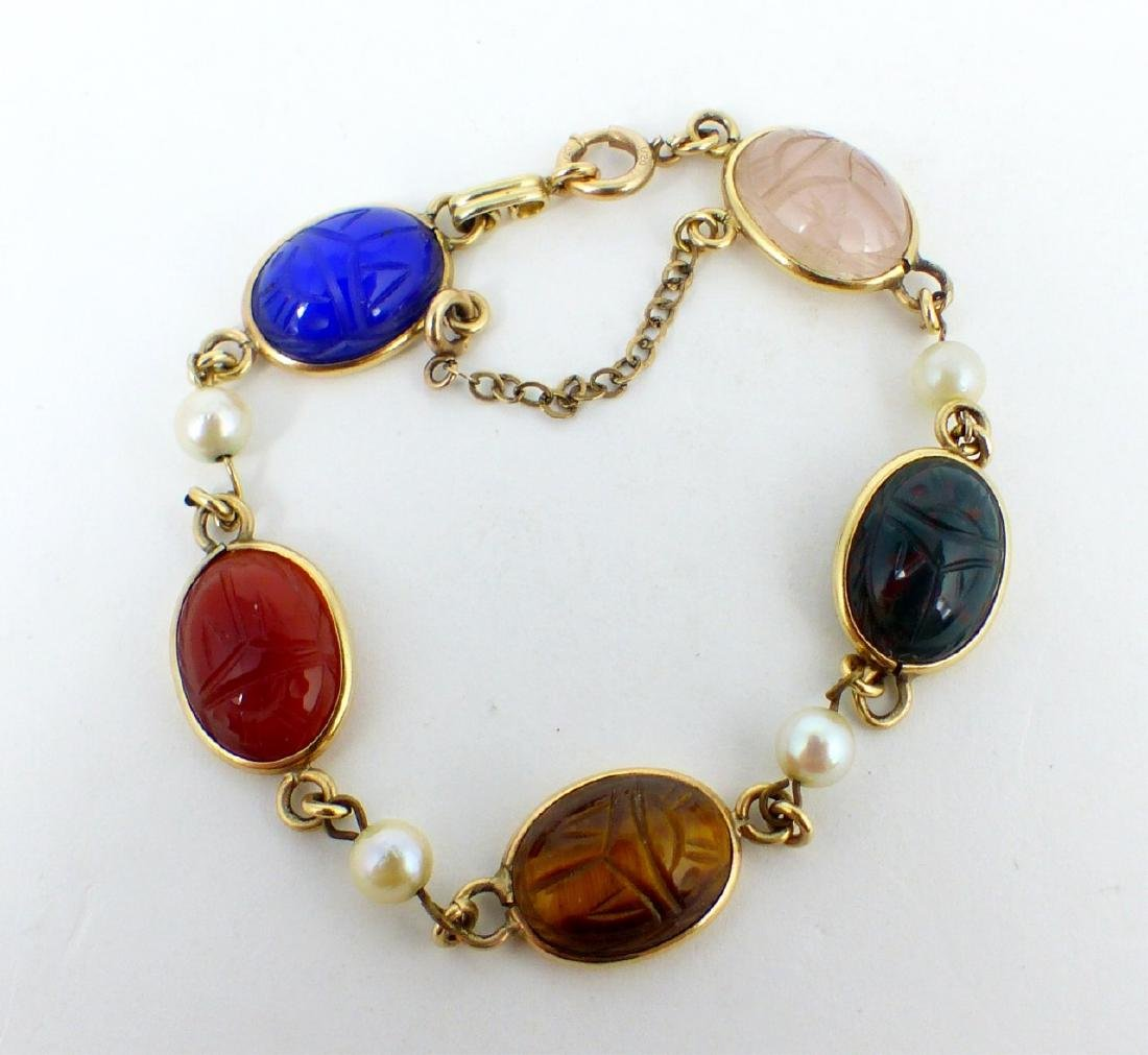 2pc SCARAB BRACELET & FAUX AMBER BEADED NECKLACE - 7