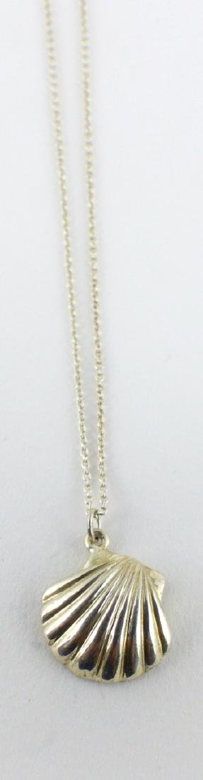 TIFFANY & CO STERLING SHELL PENDANT w NECKLACE