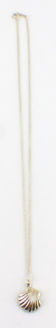 TIFFANY & CO STERLING SHELL PENDANT w NECKLACE - 2