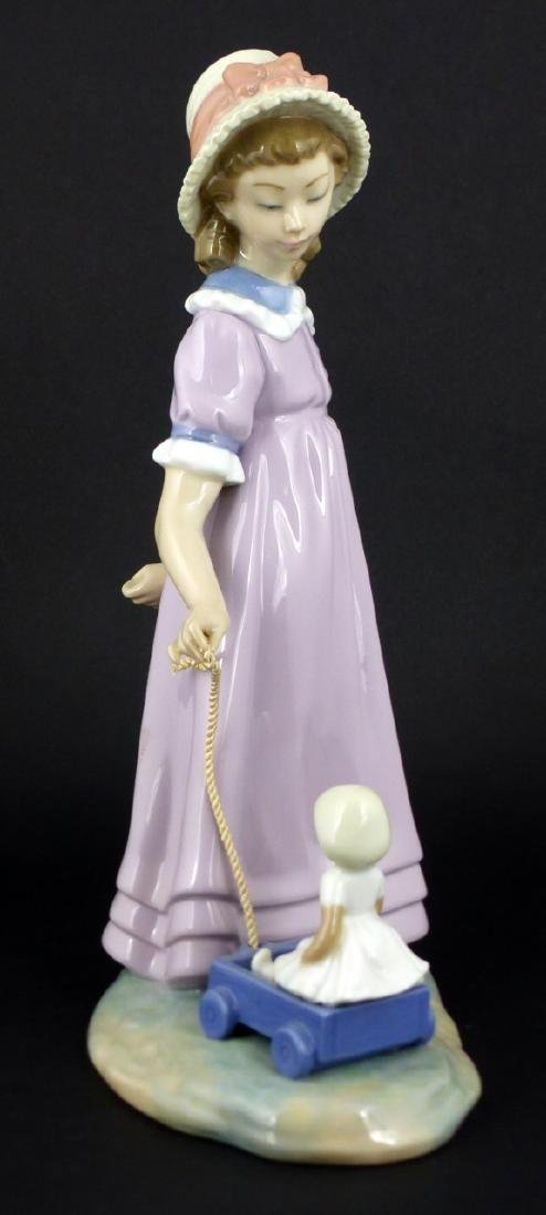 LLADRO 'PULLING DOLLS CARRIAGE' PORCELAIN FIGURE - 2