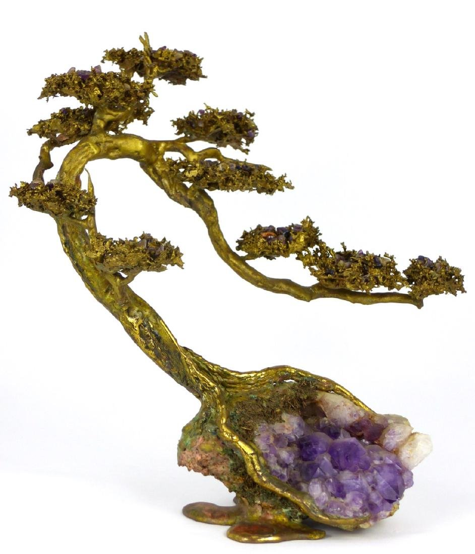 MARTIN BORJA BRONZE & AMETHYST TREE SCULPTURE