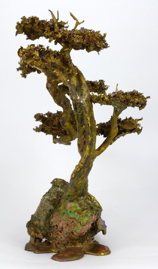MARTIN BORJA BRONZE & AMETHYST TREE SCULPTURE - 3