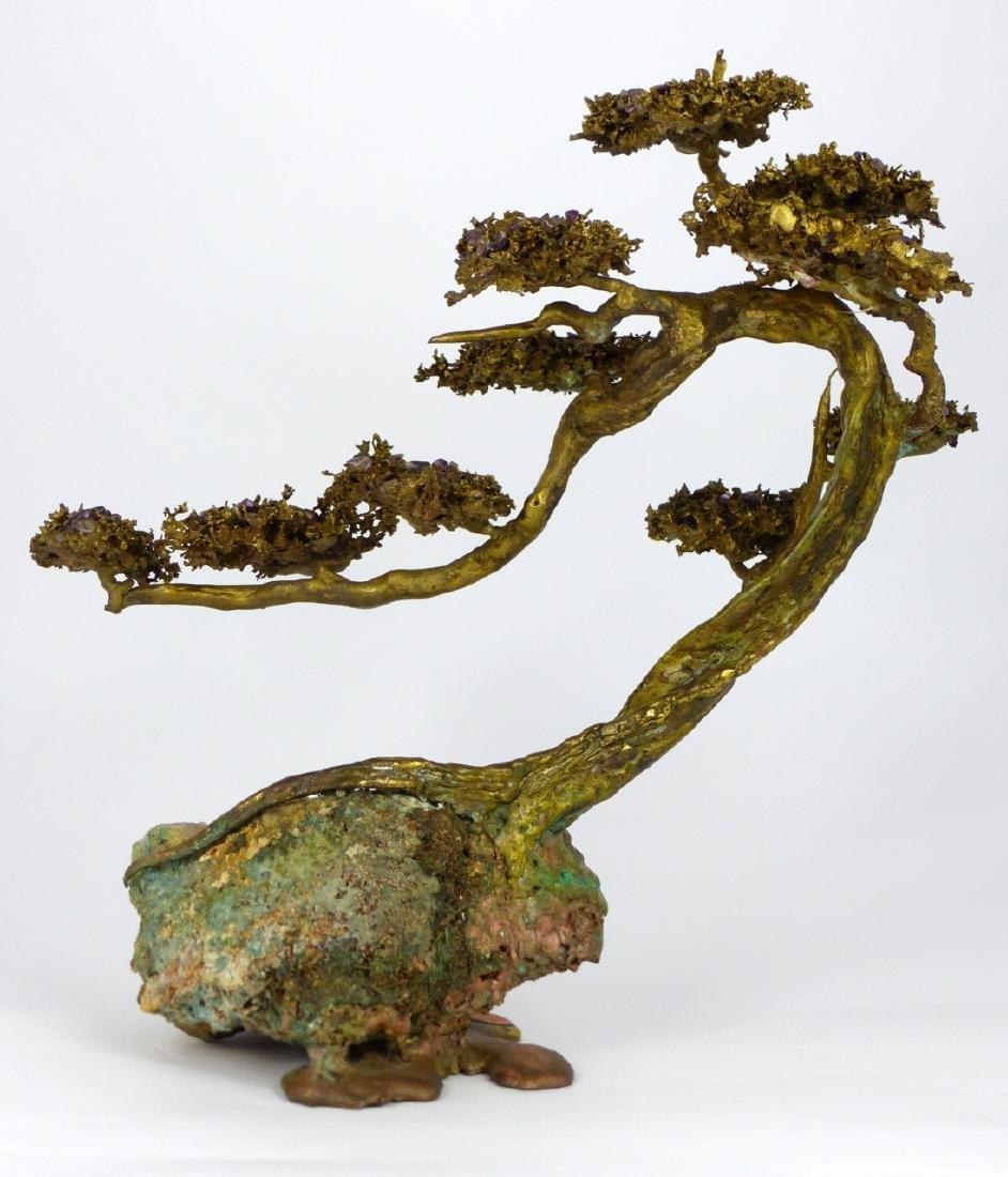 MARTIN BORJA BRONZE & AMETHYST TREE SCULPTURE - 4