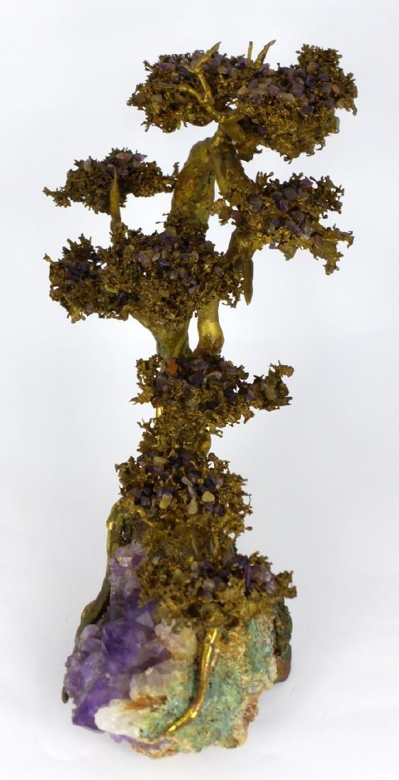 MARTIN BORJA BRONZE & AMETHYST TREE SCULPTURE - 5