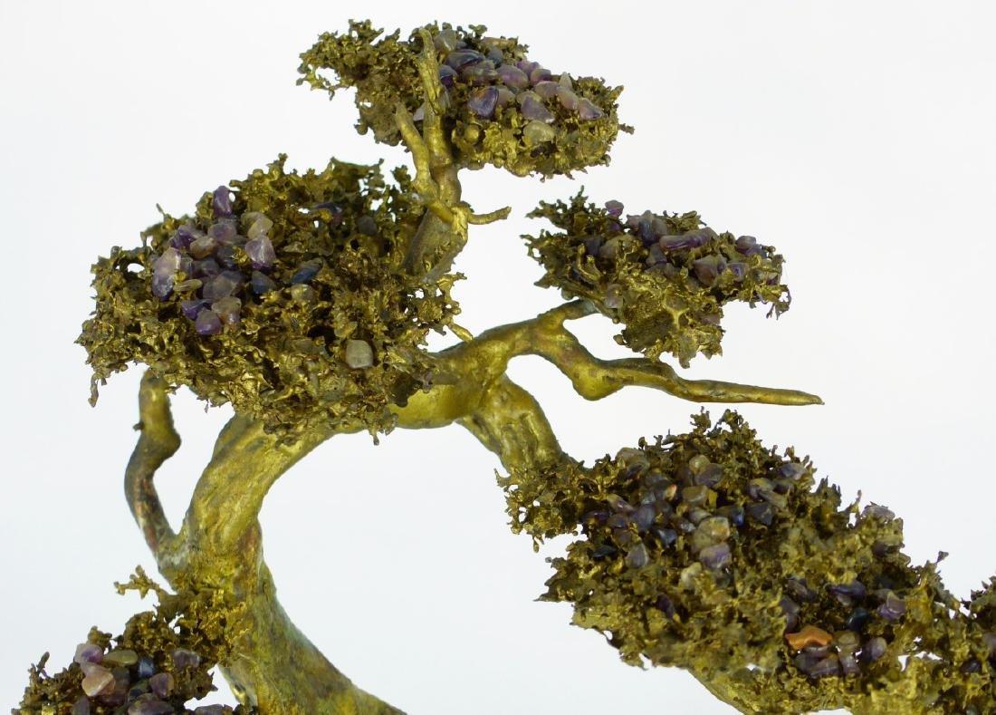 MARTIN BORJA BRONZE & AMETHYST TREE SCULPTURE - 8