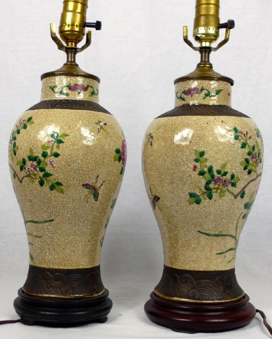 PR CHINESE CRACKLE GLAZED PORCELAIN VASE LAMPS - 3