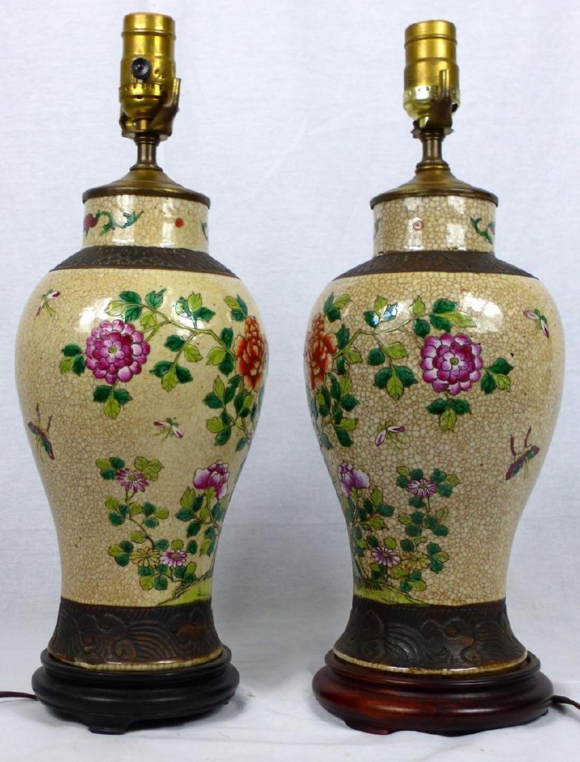 PR CHINESE CRACKLE GLAZED PORCELAIN VASE LAMPS - 4
