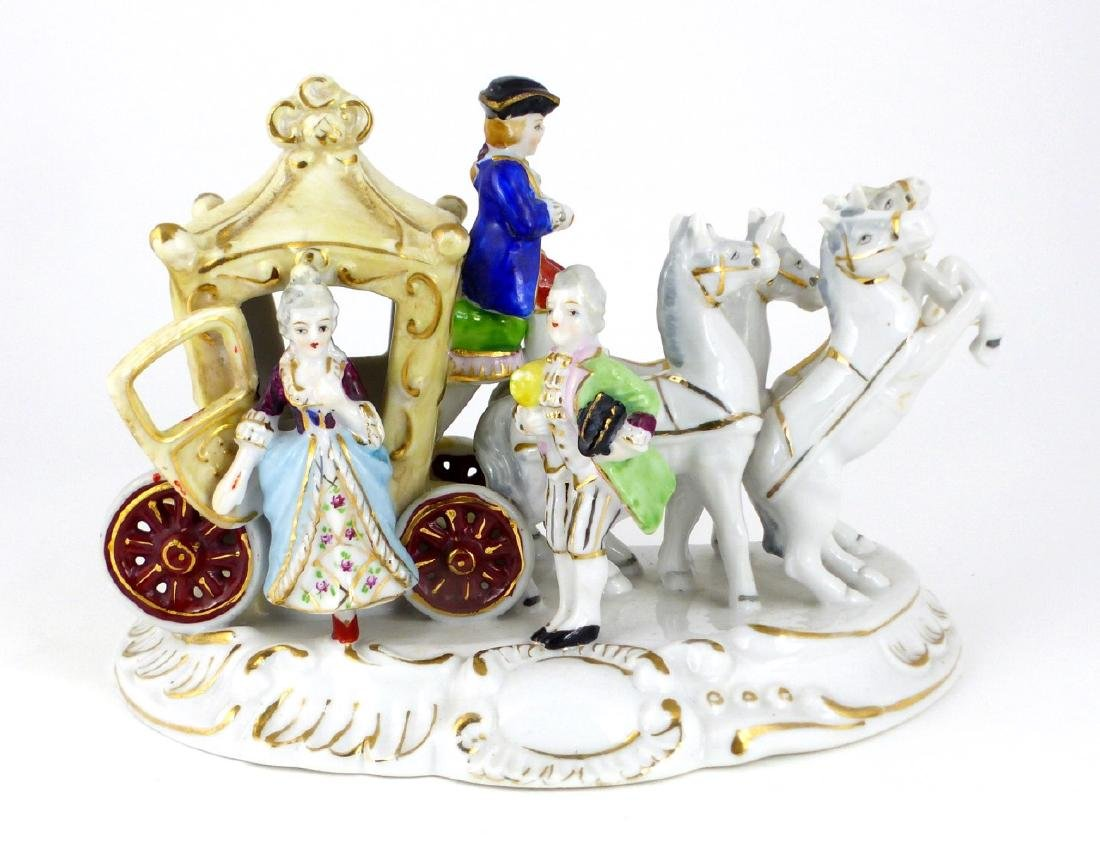 GERMAN PORCELAIN HORSE & CARRIAGE PORCELAIN GROUP